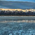 Abraham Lake Ice Bubble Sunset by Adam Jewell