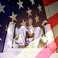 Abraham Lincoln Memorial Blended With American Flag by Sami Sarkis