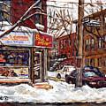 Rue De Pointe St Charles En Hiver Scenes De Rue De Montreal Peinture Originale A Vendre Paul Patates by Carole Spandau