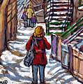 En Route Vers L'ecole Escaliers De Montreal Scenes De Ville Peintures A Vendre by Carole Spandau