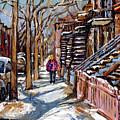 Scenes De Ville De Montreal En Hiver Original Quebec Art For Sale Montreal Street Scene by Carole Spandau