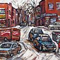Ville Emard En Peinture Scenes De Ville De Montreal En Hiver Petit Format A Vendre by Carole Spandau