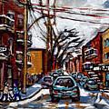 Plateau Mont Royal Scenes De Rue De Montreal En Hiver Rue Napoleon Petit Format A Vendre by Carole Spandau