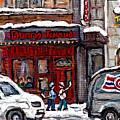 Dunn's Famous Deli Downtown Montreal Scenes De Rue Montreal Centre Ville En Hiver Joueur De Hockey by Carole Spandau