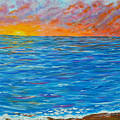 Abstract Art- Flaming Ocean by Kathy  Symonds