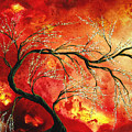 Abstract Art Floral Tree Landscape Painting Fresh Blossoms By Madart by Megan Duncanson