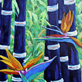 Abstract Bamboo And Birds Of Paradise 04 by Richard T Pranke