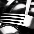 Abstract Black And White Photo Of Mixed Silver Forks by Alain De Maximy