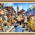 Abstract Canal Scene In Venice L A S With Decorative Ornate Printed Frame. by Gert J Rheeders