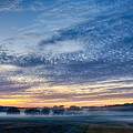 Abstract Early Morning Sunrise Over Farm Land by Alex Grichenko