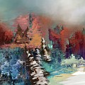 Abstract Fall Landscape Painting by Eduardo Tavares
