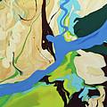 Abstract Flow Green-blue Series No.2 by Carole Sluski
