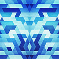Abstract Geometric Triangle Pattern Futuristic Future Symmetry In Ice Blue by Philipp Rietz