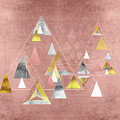 Abstract Geometric Triangles, Gold, Silver Rose Gold by Tina Lavoie