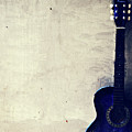 Abstract Guitar In The Foreground Close Up On Watercolor Painting Background. by Punnarong Lotulit