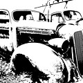 Abstract High Contrast Old Car by MIke Loudemilk