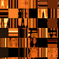 Abstract In Orange And Black by Lenore Senior