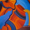 Abstract In Orange And Blue by Nancy Sisco