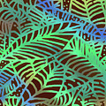 Abstract Leaves Cocoa Green by Karen Dyson