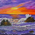 Abstract Ocean- Oil Painting- Puple Mist- Seascape Painting by Kathy  Symonds