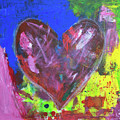 Abstract Red Heart Acrylic Painting by Karen Kaspar