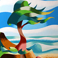 Abstract Rough Futurist Cypress Tree by Mark Webster