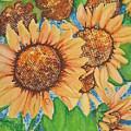 Abstract Sunflowers by Chrisann Ellis