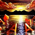Abstract Sunset Landscape Seascape Floating Aces Suits Poker Art Decor by Teo Alfonso