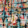 Abstract Teal Crosses by Laura Parker