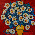 Abstract Wild White Roses Original Oil Painting by Ana Maria Edulescu