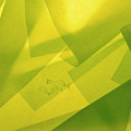 Abstract Yellow And Green With Bottles by Stefania Levi