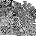 Abstract Zentangle Inspired Design In Black And White by Eric Strickland