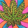 Aceo Cannabis Abstract Leaf  by Jill Christensen