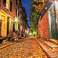 Acorn Street Autumn Boston Mass Street Light by Toby McGuire