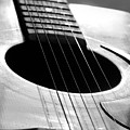 Acoustic Guitar In Black And White by Angela Murdock