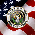 Acquisition Corps - A A C Branch Insignia Over U. S. Flag by Serge Averbukh
