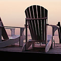 Adirondack Chairs Dockside At Lavender Haze Twilight by Elaine Plesser
