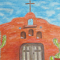 Adobe Church And Cactus by Kathy Marrs Chandler