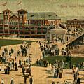 Aerial Birds Eye View Of Long Beach Pier And Beachfront California Circa 1895 by Design Turnpike