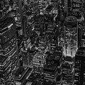 Aerial New York City Skyscrapers Bw by Susan Candelario