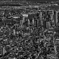 Aerial New York City Sunset Bw Bw by Susan Candelario