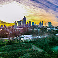 Aerial Of Charlotte North Carolina Skyline by Alex Grichenko