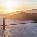 Aerial Of Golden Gate Bridge At Sunset, San Francisco, Californi by Matteo Colombo