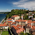 Aerial Of Piran Slovenia On Gulf Of Trieste Adriatic Sea With St by Reimar Gaertner