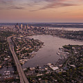 Aerial Seattle View Along Interstate 5 by Mike Reid