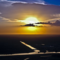 Aerial Sunset Over Canal by Carolyn Marshall