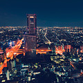 Aerial View Cityscape At Night In Tokyo Japan by Michiko Tierney