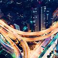 Aerial-view Highway Junction At Night In Tokyo Japan by Michiko Tierney