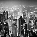 Aerial View Of Hong Kong Island At Night From The Peak Hksar China by Joe Fox