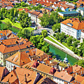 Aerial View Of Ljubljana Green River by Brch Photography